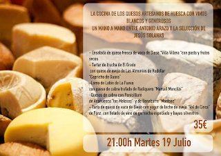 Cena maridada con quesos oscenses en EL CANDELAS (martes, 19)