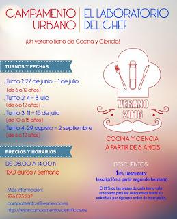 Campamento urbano El laboratorio del Chef (del 29 de agosto al 2 de septiembre)