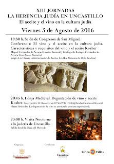 UNCASTILLO. Charla y degustación sobre el aceie y el vino en la cultura judía (viernes, 5)