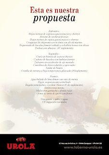 Nuevo menú en UROLA por 17 euros (septiembre)