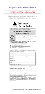 BRONCHALES. Visitas guiadas al secadero de jamones (jueves, 25)