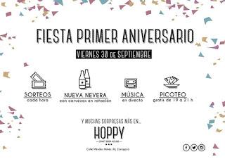 Fiesta primer aniversario de la cervecería Hoppy (viernes, 30)