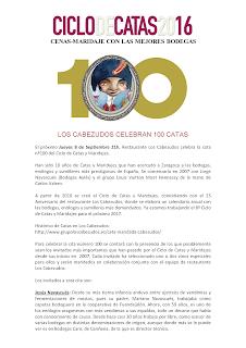 Cata cena maridaje nº 100 en LOS CABEZUDOS (jueves, 8)