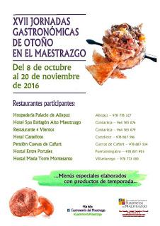 MAESTRAZGO. Jornadas gastronómicas (del 8 de octubre al 20 de noviembre)