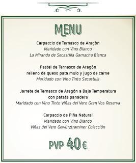 Cena maridada con Ternasco de Aragón (jueves, 3)