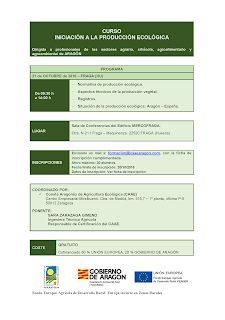 FRAGA. Curso introducción en producción ecológica en Fraga (viernes, 21)