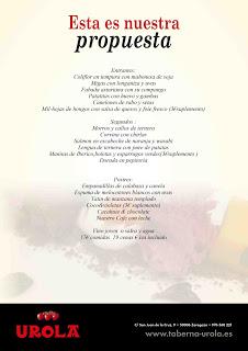 Nuevo menú diario en restaurante UROLA, por 17-19 euros
