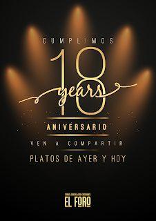 Menú degustación 18 aniversario, Platos de Ayer y Hoy, por 30 euros, en EL FORO (noviembre)