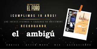 After-work 18 aniversario en EL FORO (de jueves a sábados noche, noviembre)