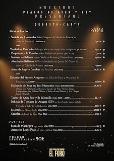 Menú degustación 18 aniversario, Platos de Ayer y Hoy, por 50 euros, en EL FORO (noviembre)