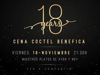 Cena cóctel benéfica 18 aniversario en EL FORO (viernes, 18)