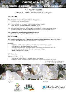 """Jornada """"Las relaciones laborales en el sector agrario aragonés"""" (lunes, 19)"""