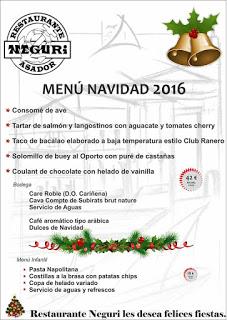 Menú especial del Día de Navidad en Neguri (25 diciembre)