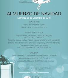 Menú del día de Navidad restaurante CELEBRIS, por 60 euros (domingo, 25 de diciembre)