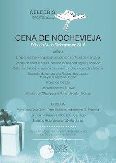 Menú de Nochevieja en restaurante CELEBRIS (sábado, 31)