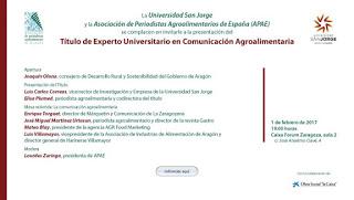 Presentación del Título de Experto Universitario en Comunicación Agroalimentaria y mesa redonda (miércoles, 1)