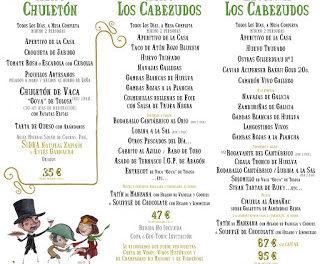 Nuevos menús en LOS CABEZUDOS por 38,50, 51,70 y 73,70 euros