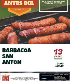 FUENTES DE EBRO. Cena-barbacoa en honor a San Antón (viernes, 13)