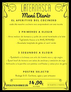 Nuevo menú semanal en LA TERNASCA, por 14,90 euros (del 14 al 17 de febrero)