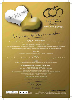 Menú de san Valentín en ARAGONIA PALAFOX por 55 euros (cenas de los días 11, 14 y 18)