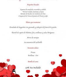 ESQUEDAS. Menú de san Valentín en LA VENTA DEL SOTÓN (noches de martes, 14, viernes, 17, y sábado, 18)