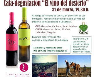 Cata de vinos de Los Monegros en LA NATURAL (viernes, 31)