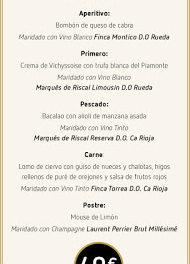 Cena maridada con Marqués de Riscal (jueves, 30)