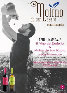 Cena maridada con vino del desierto en El Molino de San Lázaro (jueves, 16)