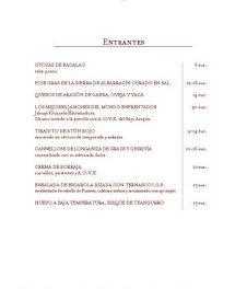 Nueva carta y menús en Aragonia (hasta finales de mayo)