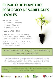 Reparto de plantero de variedades locales (miércoles 19, viernes 21 y jueves 27 de abril)