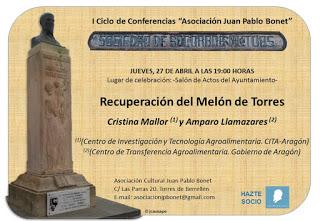 """TORRES DE BERRELLÉN. Conferencia """"Recuperación del Melón de Torres"""" (jueves, 27)"""