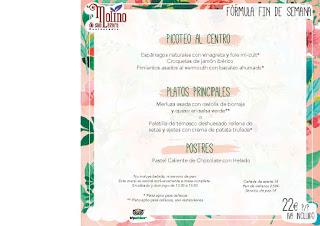 Menú FÓRMULA FIN DE SEMANA en el MOLINO DE SAN LÁZARO por 22 euros (hasta finales de junio)