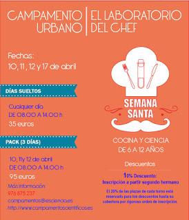"""Campamento infantil """"El Laboratorio del Chef"""" en Joaquín Roncal (10, 11, 12 y 17)"""