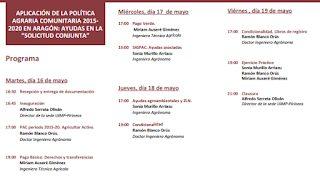 """HUESCA. Curso: """"Aplicación de la Política Agraria Comunitaria 2015-2020 en Aragón: ayudas en la Solicitud Conjunta"""" (del 16 al 19)"""