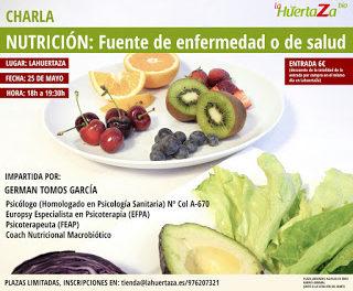 Charla sobre nutrición en LA HUERTAZA (jueves, 25)