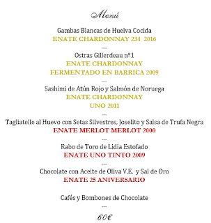 Cata cena maridada con vinos de Enate en LOS CABEZUDOS (miércoles, 17)