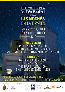 """MALLÉN. Festival de música """"Noches en la ermita"""" con food trucks (viernes, 30, y sábado, 1)"""