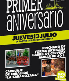 Fiesta especial por primer aniversario (jueves, 13)