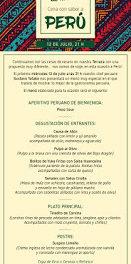 Cena con sabor a Perú (miércoles, 12)