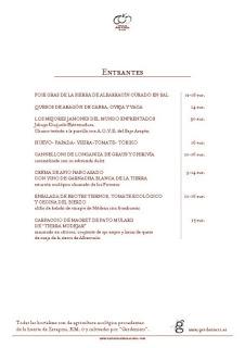 Nueva carta en ARAGONIA PALAFOX (hasta finales de otoño)
