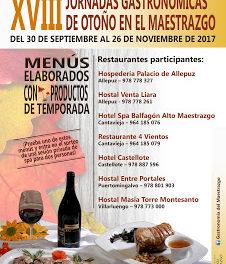 MAESTRAZGO. Jornadas gastronómicas (del 30 de septiembre al 26 de noviembre)