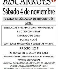 BISCARRUÉS. Cena micológica (sábado, 4)