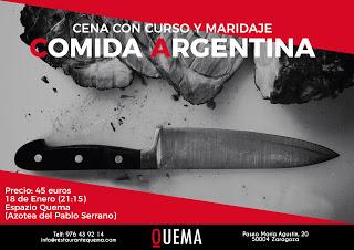 Cena con curso y maridaje de comida argentina (jueves, 18)