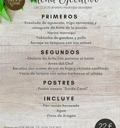 Nuevo menú semanal en DONDE CAROL por 22 euros (del lunes, 22, al viernes, 26)