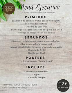 Nuevo menú semanal en DONDE CAROL por 22 euros (del lunes, 15, al viernes, 19)
