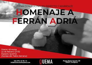 Cena y curso de cocina homenaje a Ferrán Adriá (jueves, 22)