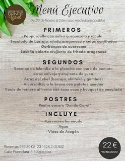 Nuevo menú semanal en DONDE CAROL por 22 euros (del lunes, 26, al viernes, 2 de marzo)