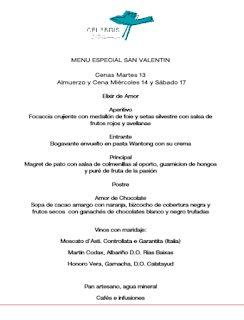 Menú especial de San Valentín en CELEBRIS (13, 14 y 17 de febrero)