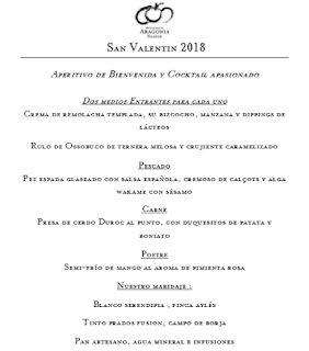 Menú especial de San Valentín (13, 14 y 17 de febrero)