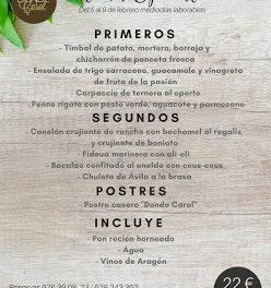Nuevo menú semanal en DONDE CAROL por 22 euros (del lunes, 5, al viernes, 9)